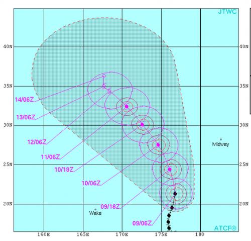 8月9日台風13号予測