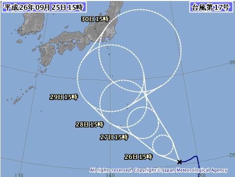 台風17号気象庁予想