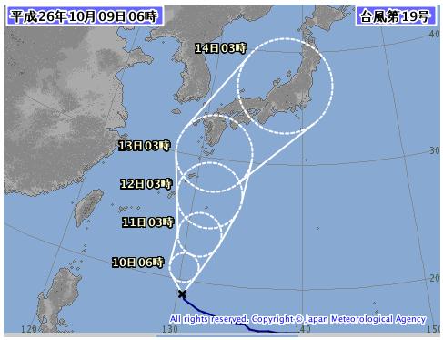 気象庁台風19号進路
