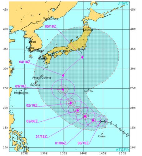 台風18号米軍進路予想