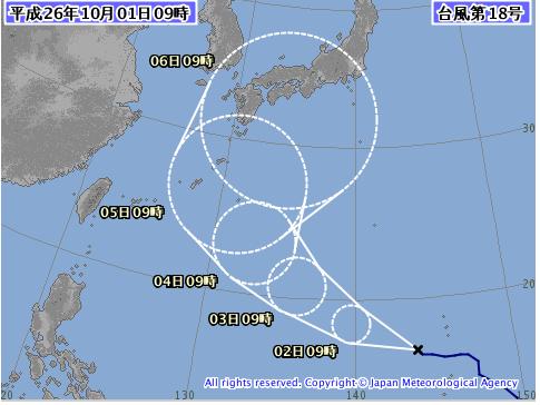 台風18号気象庁予想