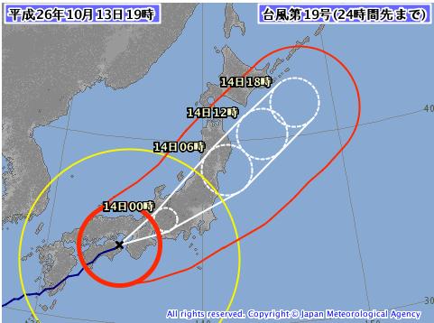 気象庁台風19号の3時間毎予想推移