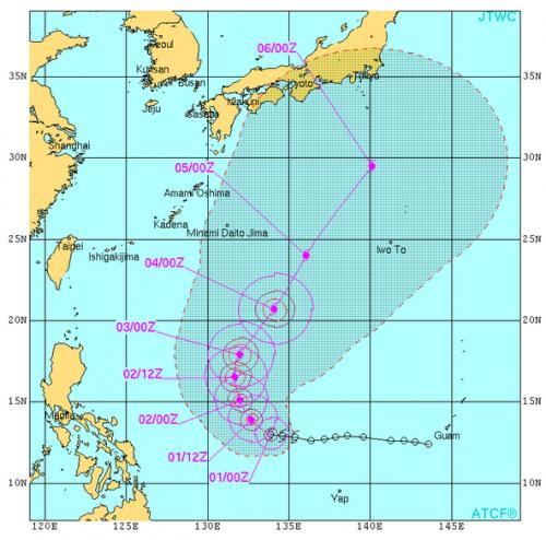 台風20号米軍予想