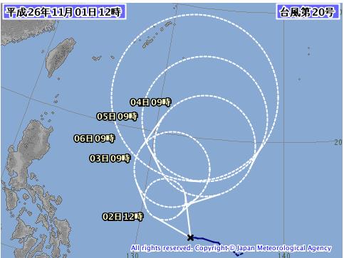 台風20号気象庁予想