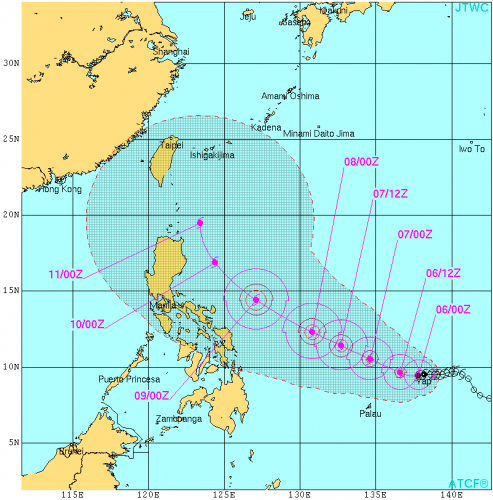 台風6号米軍進路予想